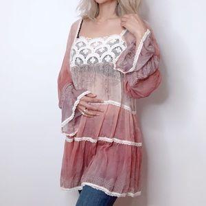 Sundance Silk Sheer Ombre Boho Tunic Top